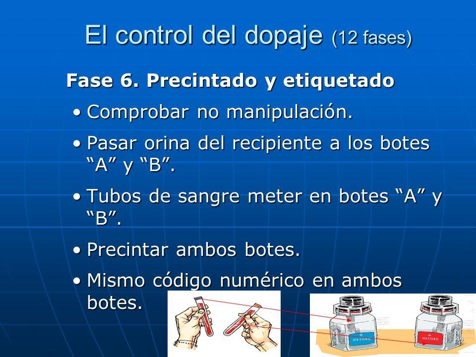 El control del dopaje (12 fases) El control del dopaje (12 fases) Fase 6. Precintado y etiquetado Comprobar no manipulación.Comprobar no manipulación.