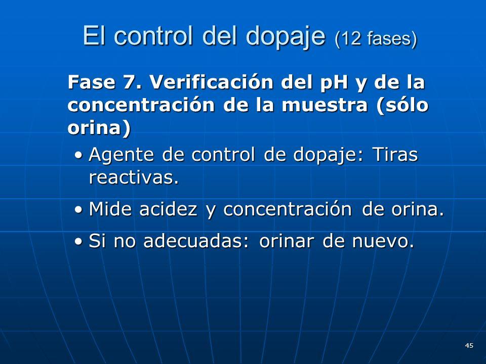 El control del dopaje (12 fases) Fase 7. Verificación del pH y de la concentración de la muestra (sólo orina) Agente de control de dopaje: Tiras react