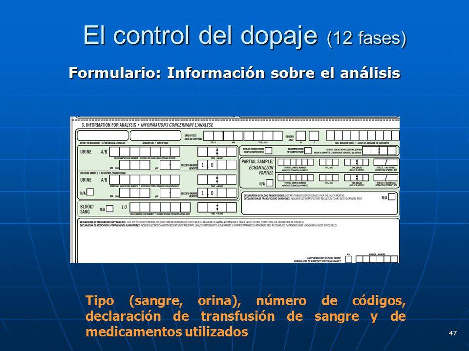 El control del dopaje (12 fases) El control del dopaje (12 fases) Formulario: Información sobre el análisis 47 Tipo (sangre, orina), número de códigos