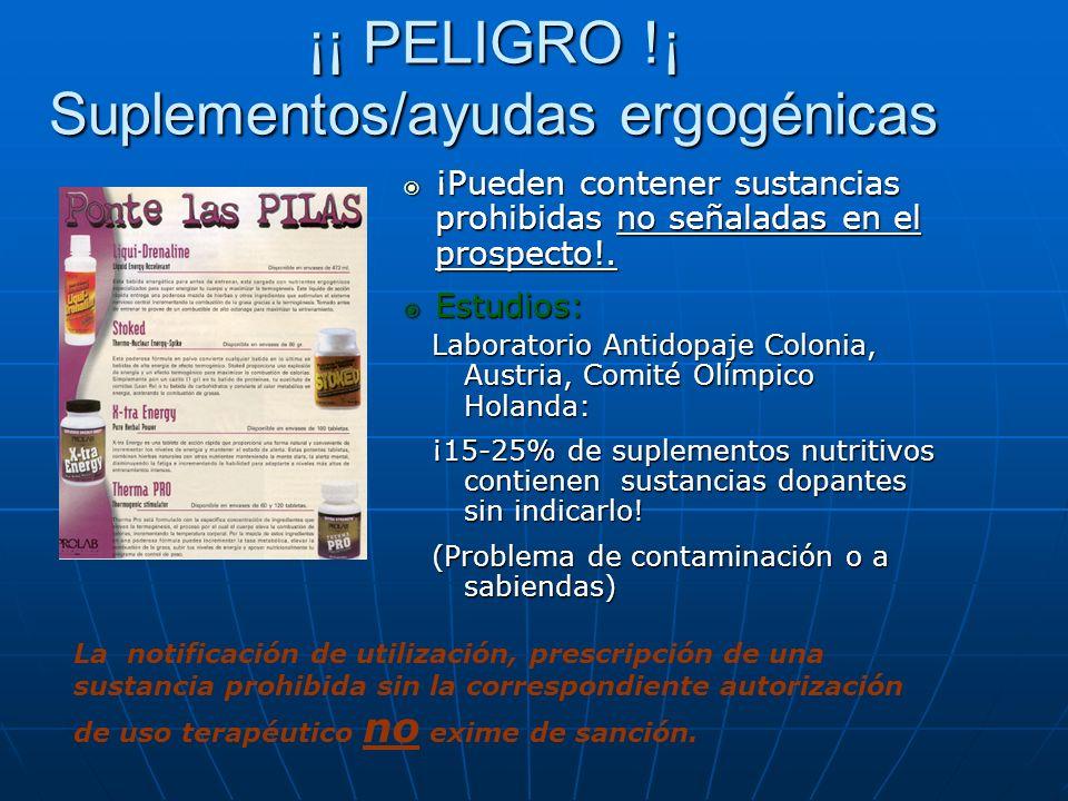 ¡¡ PELIGRO !¡ Suplementos/ayudas ergogénicas ¡Pueden contener sustancias prohibidas no señaladas en el prospecto!. ¡Pueden contener sustancias prohibi