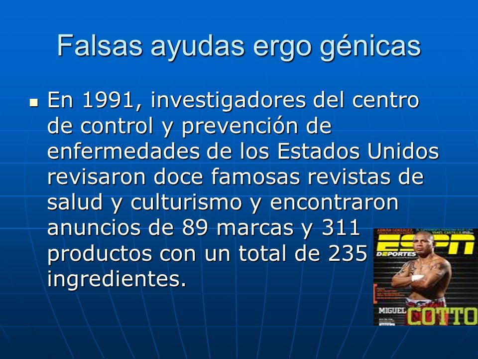 Falsas ayudas ergo génicas En 1991, investigadores del centro de control y prevención de enfermedades de los Estados Unidos revisaron doce famosas rev