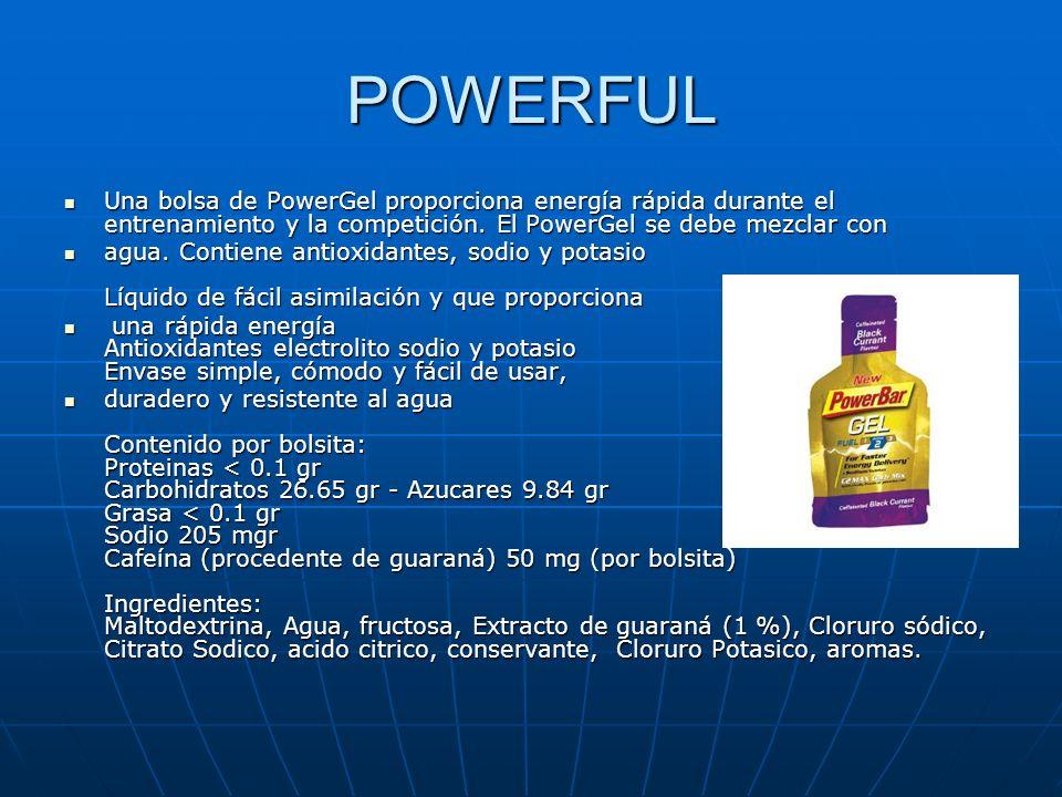 POWERFUL Una bolsa de PowerGel proporciona energía rápida durante el entrenamiento y la competición. El PowerGel se debe mezclar con Una bolsa de Powe