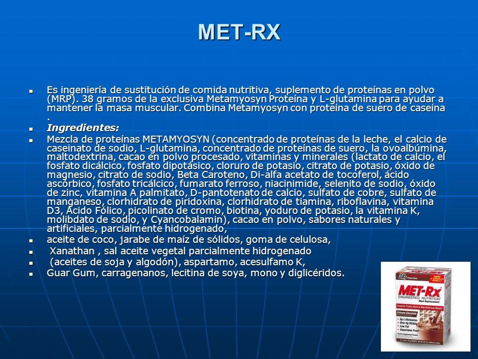 MET-RX Es ingeniería de sustitución de comida nutritiva, suplemento de proteínas en polvo (MRP). 38 gramos de la exclusiva Metamyosyn Proteína y L-glu