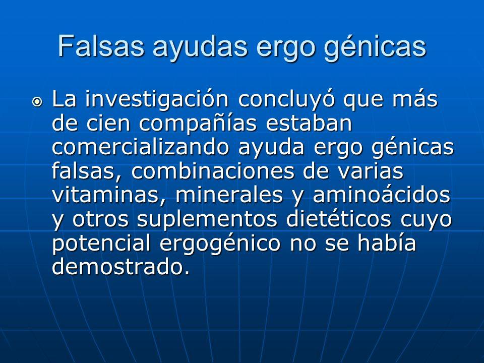 Falsas ayudas ergo génicas La asociación Health Foods de EE.UU.