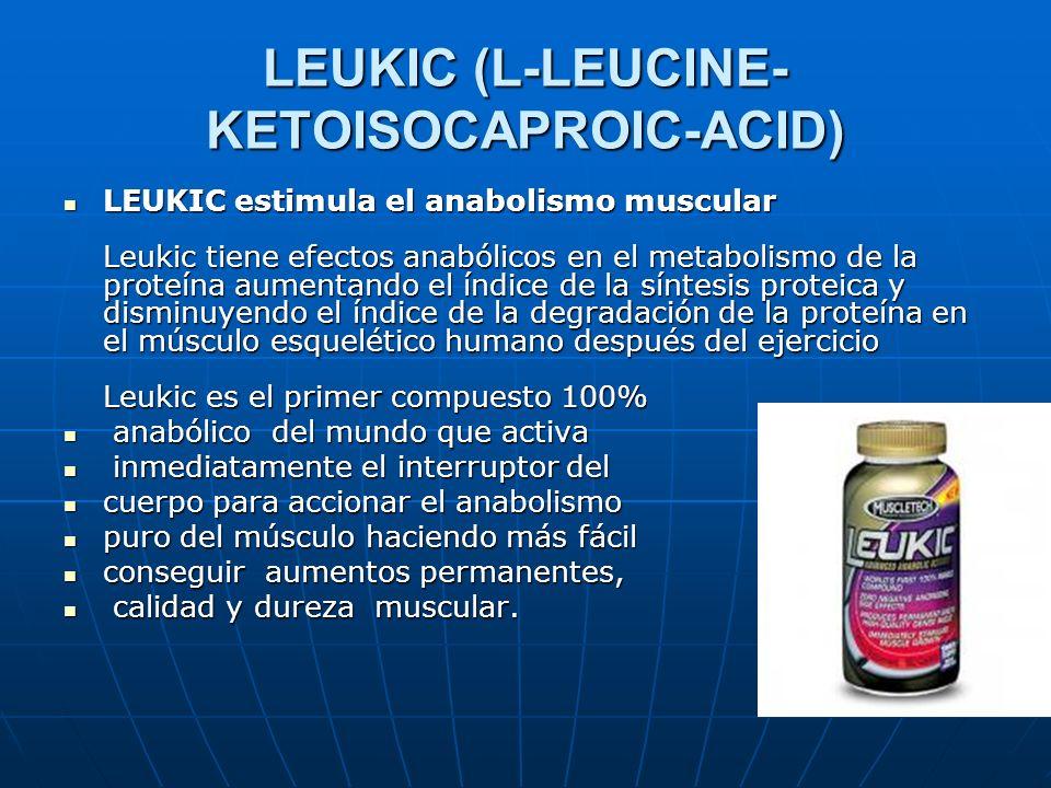 LEUKIC (L-LEUCINE- KETOISOCAPROIC-ACID) LEUKIC estimula el anabolismo muscular Leukic tiene efectos anabólicos en el metabolismo de la proteína aument