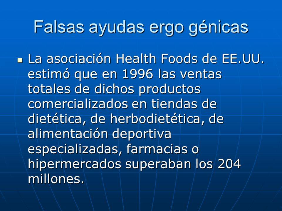 Falsas ayudas ergo génicas La asociación Health Foods de EE.UU. estimó que en 1996 las ventas totales de dichos productos comercializados en tiendas d