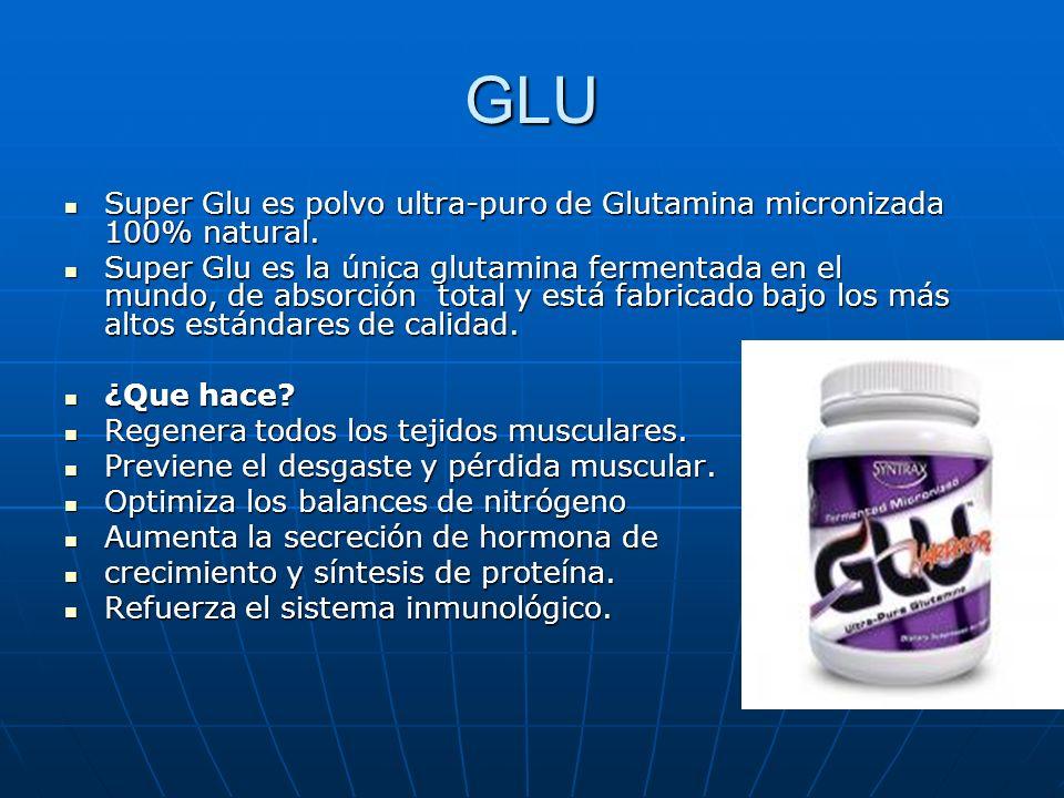 GLU Super Glu es polvo ultra-puro de Glutamina micronizada 100% natural. Super Glu es polvo ultra-puro de Glutamina micronizada 100% natural. Super Gl