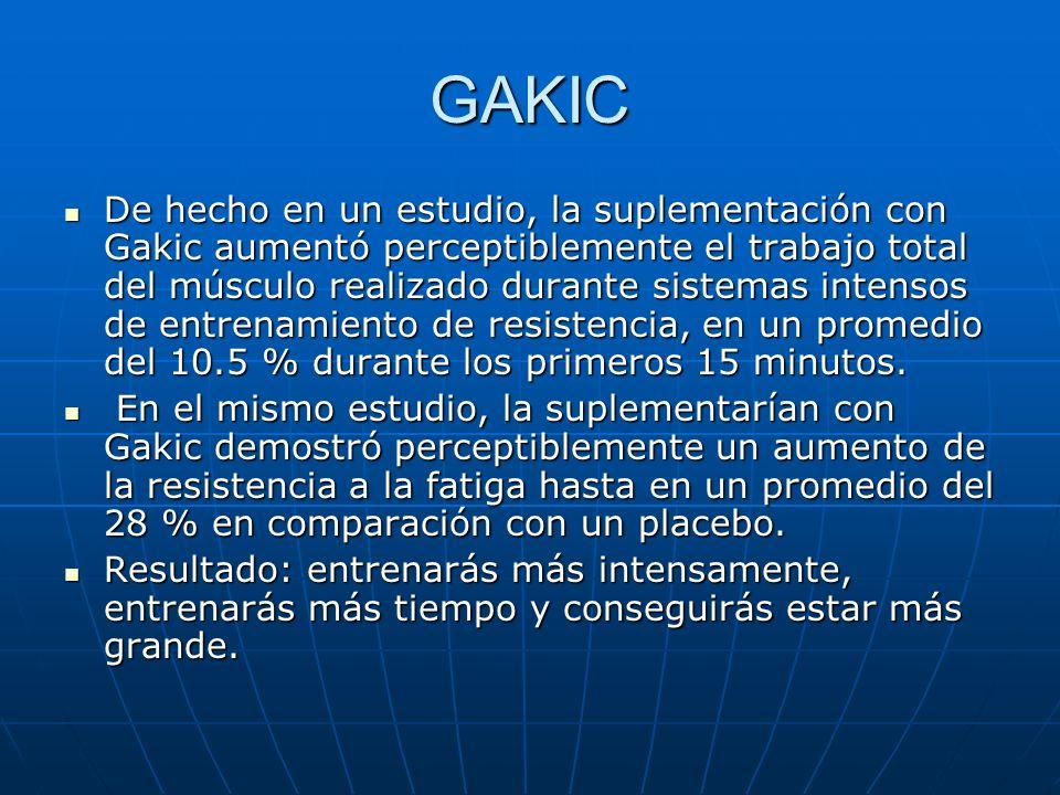 GAKIC De hecho en un estudio, la suplementación con Gakic aumentó perceptiblemente el trabajo total del músculo realizado durante sistemas intensos de