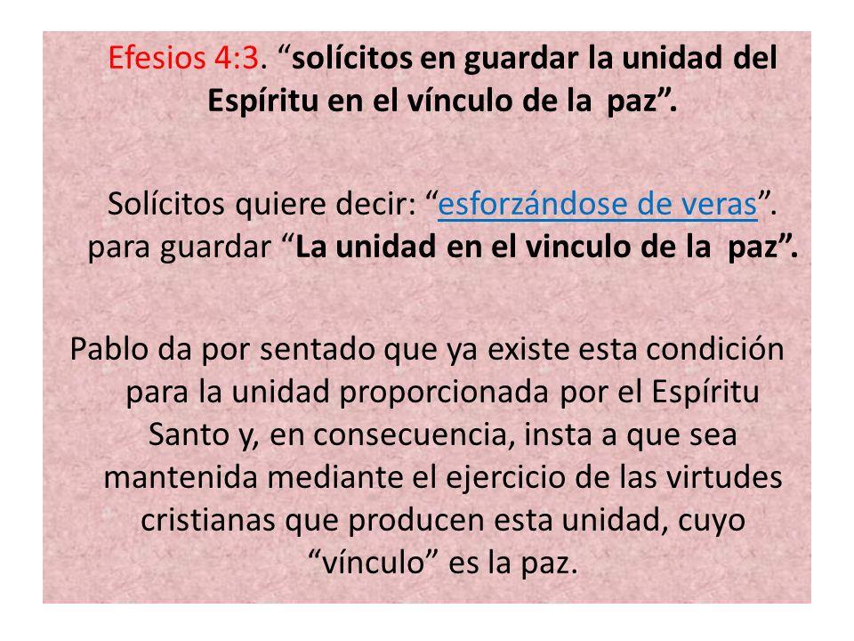 Efesios 4:3. solícitos en guardar la unidad del Espíritu en el vínculo de la paz. Solícitos quiere decir: esforzándose de veras. para guardar La unida