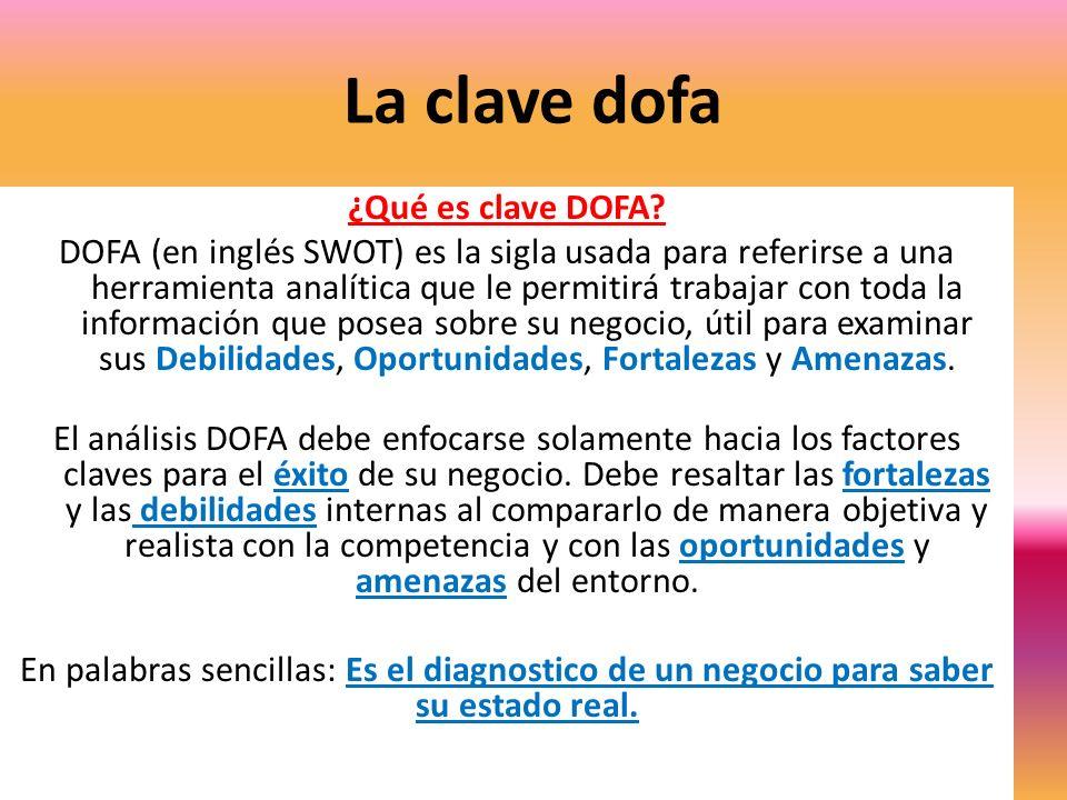 La clave dofa ¿Qué es clave DOFA? DOFA (en inglés SWOT) es la sigla usada para referirse a una herramienta analítica que le permitirá trabajar con tod