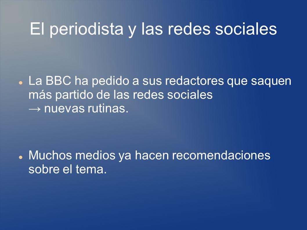 El periodista y las redes sociales La BBC ha pedido a sus redactores que saquen más partido de las redes sociales nuevas rutinas.