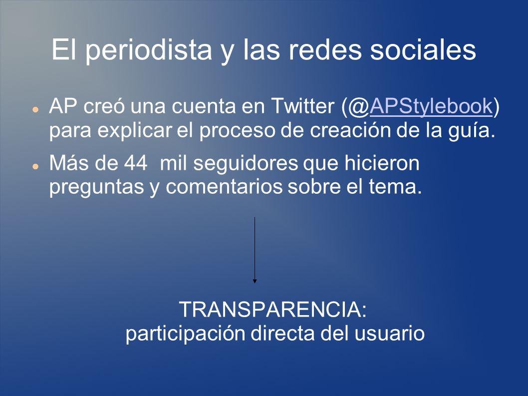 El periodista y las redes sociales AP creó una cuenta en Twitter (@APStylebook) para explicar el proceso de creación de la guía.APStylebook Más de 44 mil seguidores que hicieron preguntas y comentarios sobre el tema.