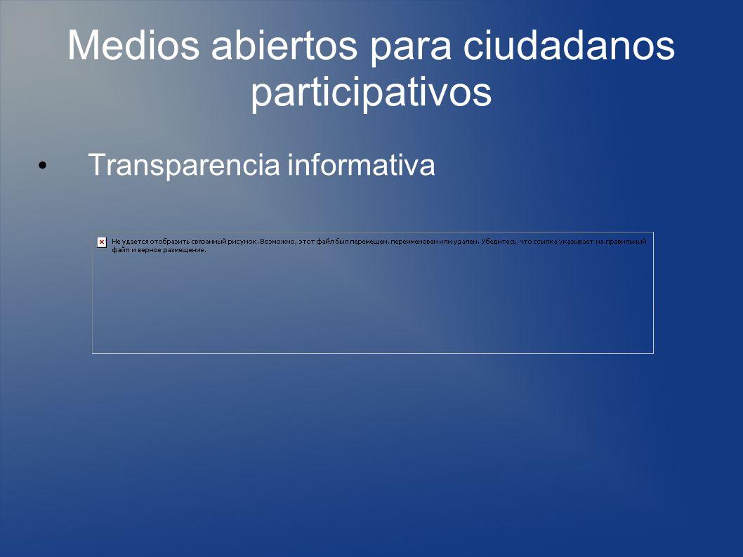 Medios abiertos para ciudadanos participativos Transparencia informativa