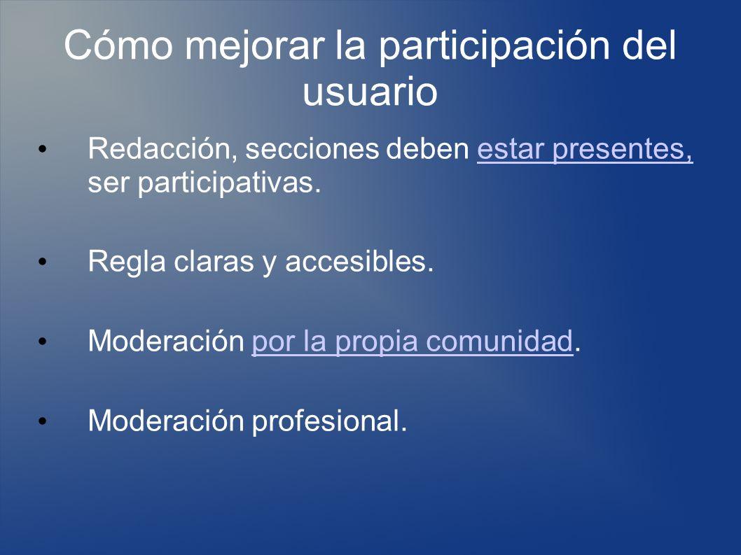 Cómo mejorar la participación del usuario Redacción, secciones deben estar presentes, ser participativas.estar presentes, Regla claras y accesibles.