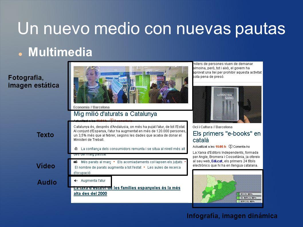 Un nuevo medio con nuevas pautas Multimedia Fotografia, imagen estática Texto Vídeo Audio Infografía, imagen dinámica