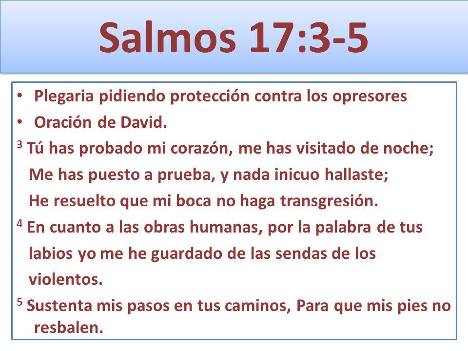 Salmos 17:3-5 Plegaria pidiendo protección contra los opresores Oración de David. 3 Tú has probado mi corazón, me has visitado de noche; Me has puesto