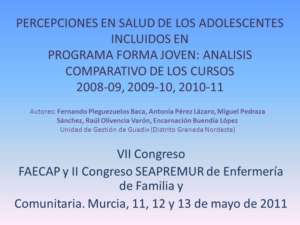 PERCEPCIONES EN SALUD DE LOS ADOLESCENTES INCLUIDOS EN PROGRAMA FORMA JOVEN: ANALISIS COMPARATIVO DE LOS CURSOS 2008-09, 2009-10, 2010-11 VII Congreso