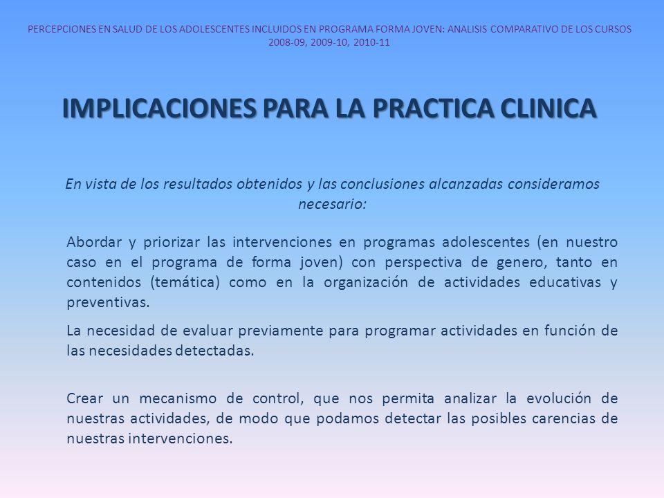 PERCEPCIONES EN SALUD DE LOS ADOLESCENTES INCLUIDOS EN PROGRAMA FORMA JOVEN: ANALISIS COMPARATIVO DE LOS CURSOS 2008-09, 2009-10, 2010-11 IMPLICACIONE