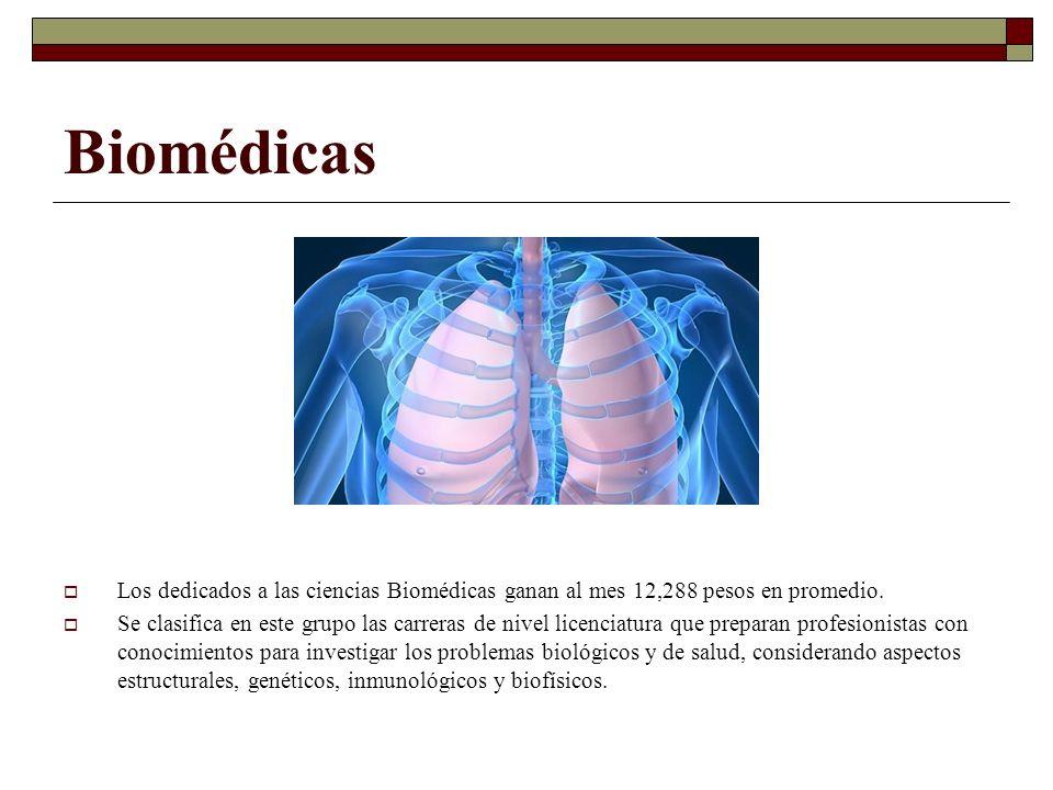 Biomédicas Los dedicados a las ciencias Biomédicas ganan al mes 12,288 pesos en promedio. Se clasifica en este grupo las carreras de nivel licenciatur
