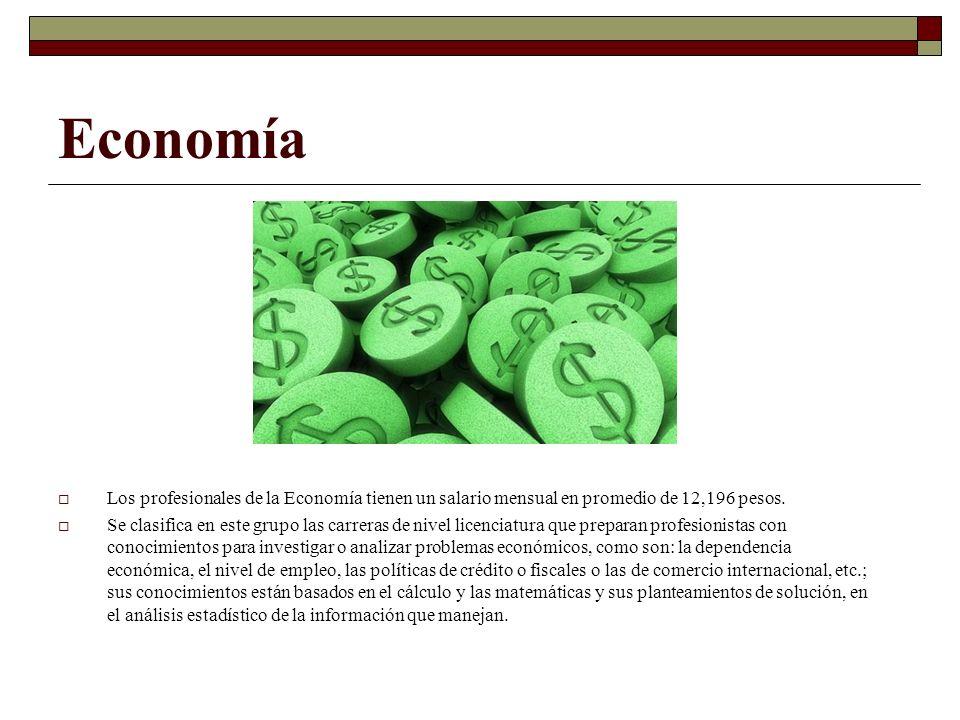 Economía Los profesionales de la Economía tienen un salario mensual en promedio de 12,196 pesos. Se clasifica en este grupo las carreras de nivel lice