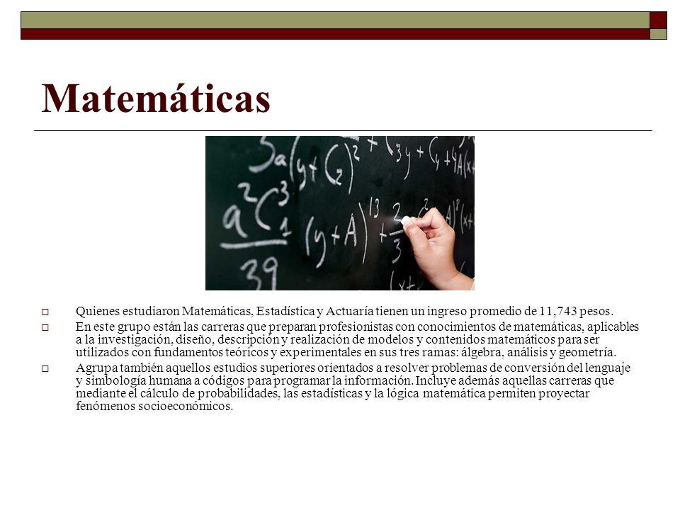 Matemáticas Quienes estudiaron Matemáticas, Estadística y Actuaría tienen un ingreso promedio de 11,743 pesos. En este grupo están las carreras que pr
