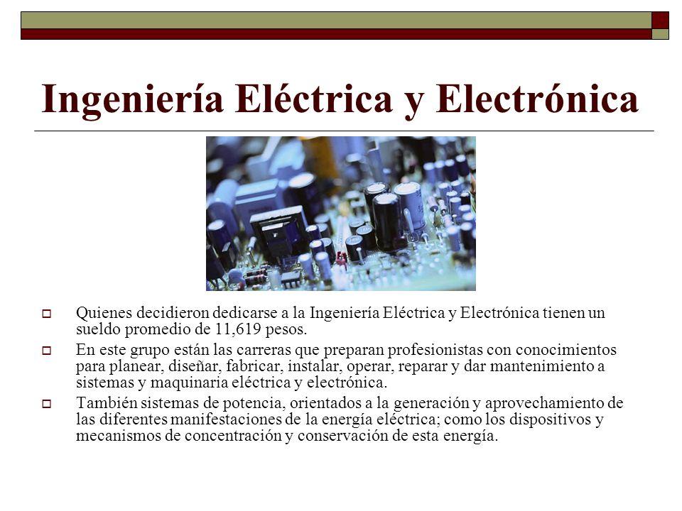 Ingeniería Eléctrica y Electrónica Quienes decidieron dedicarse a la Ingeniería Eléctrica y Electrónica tienen un sueldo promedio de 11,619 pesos. En