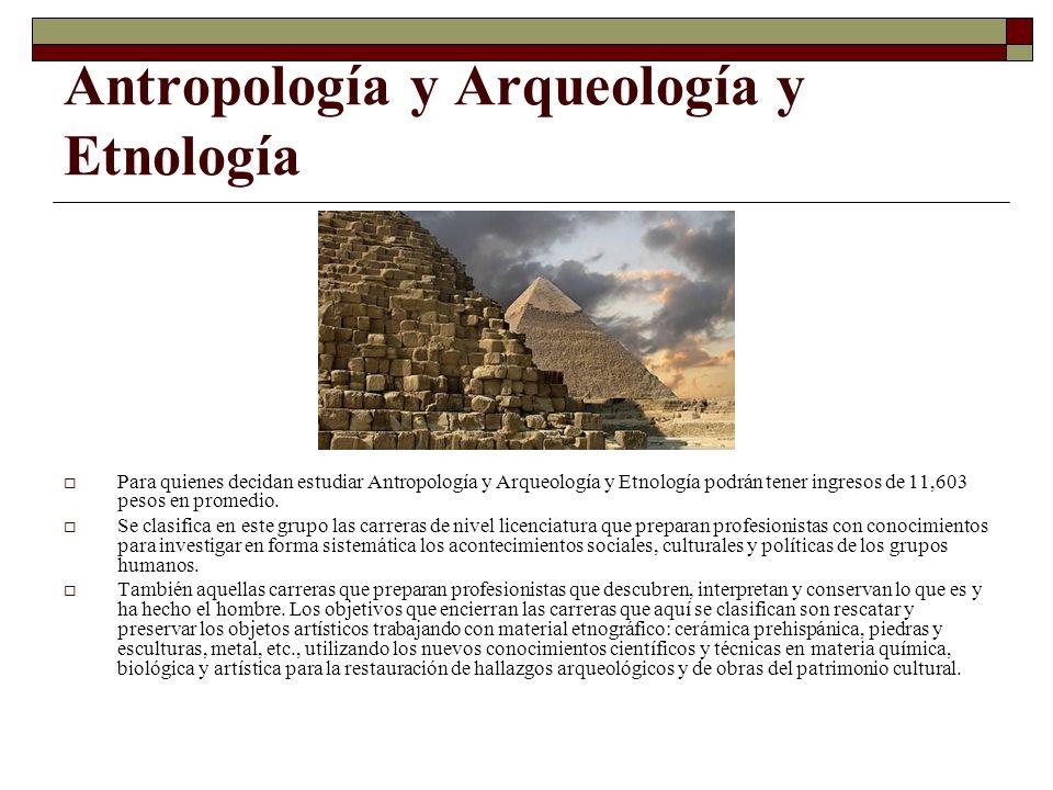 Antropología y Arqueología y Etnología Para quienes decidan estudiar Antropología y Arqueología y Etnología podrán tener ingresos de 11,603 pesos en p