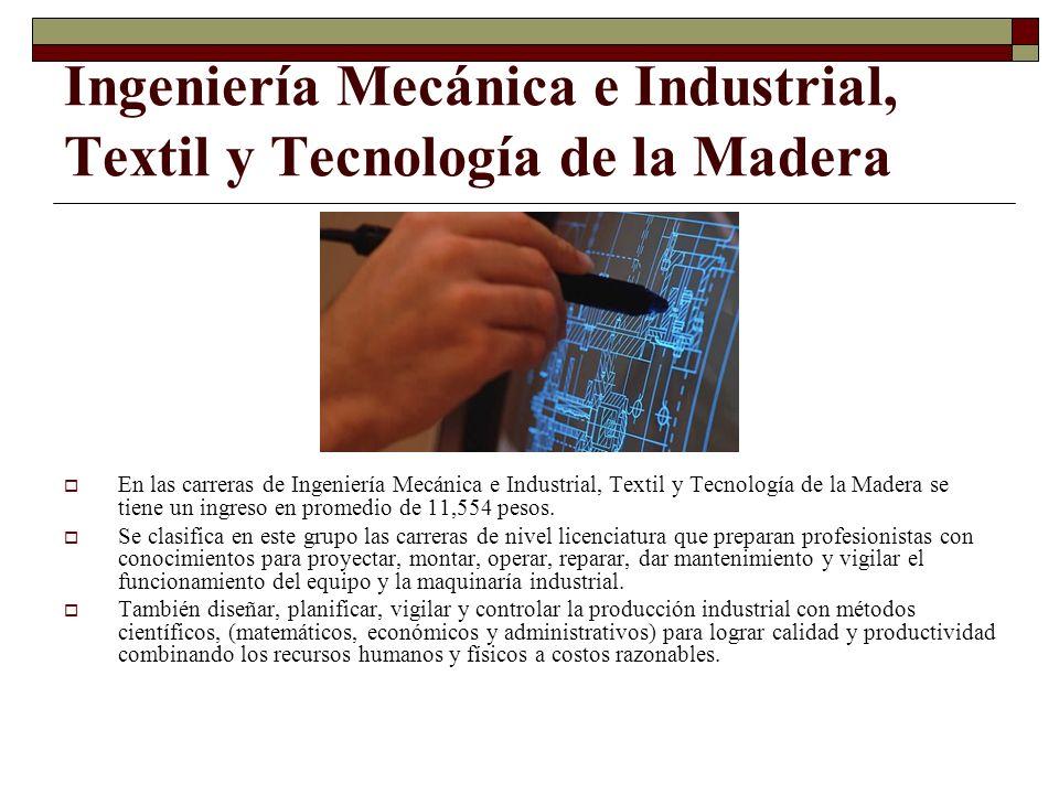 Ingeniería Mecánica e Industrial, Textil y Tecnología de la Madera En las carreras de Ingeniería Mecánica e Industrial, Textil y Tecnología de la Made
