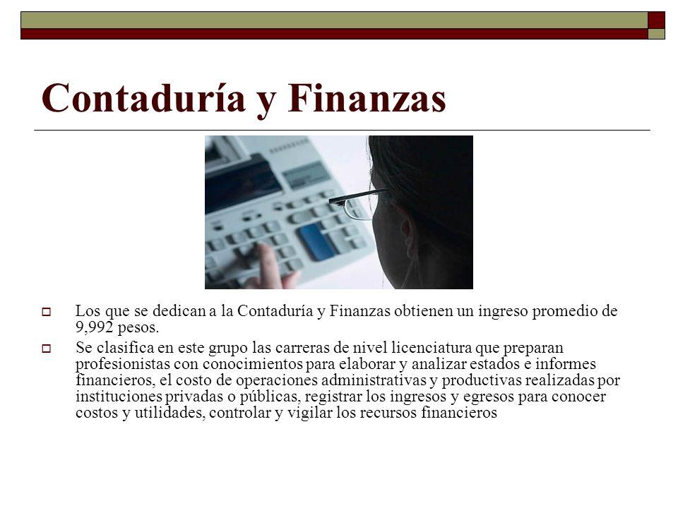 Contaduría y Finanzas Los que se dedican a la Contaduría y Finanzas obtienen un ingreso promedio de 9,992 pesos. Se clasifica en este grupo las carrer