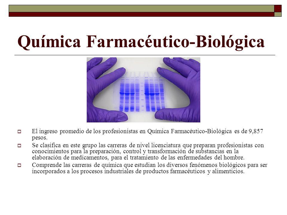 Química Farmacéutico-Biológica El ingreso promedio de los profesionistas en Química Farmacéutico-Biológica es de 9,857 pesos. Se clasifica en este gru