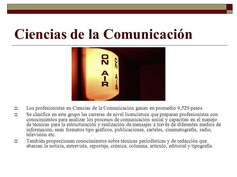 Ciencias de la Comunicación Los profesionistas en Ciencias de la Comunicación ganan en promedio 9,529 pesos. Se clasifica en este grupo las carreras d