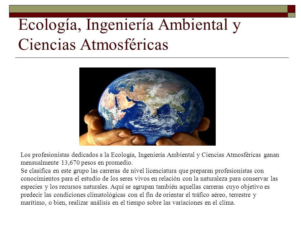 Ecología, Ingeniería Ambiental y Ciencias Atmosféricas Los profesionistas dedicados a la Ecología, Ingeniería Ambiental y Ciencias Atmosféricas ganan