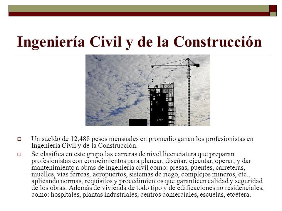 Ingeniería Civil y de la Construcción Un sueldo de 12,488 pesos mensuales en promedio ganan los profesionistas en Ingeniería Civil y de la Construcció