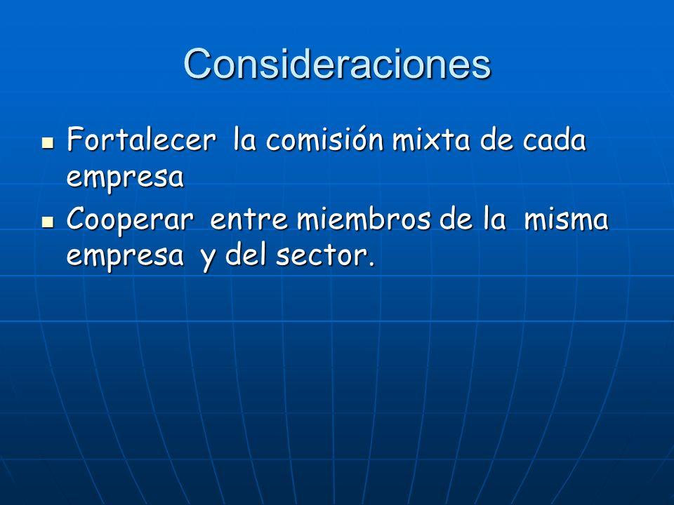 Consideraciones Fortalecer la comisión mixta de cada empresa Fortalecer la comisión mixta de cada empresa Cooperar entre miembros de la misma empresa