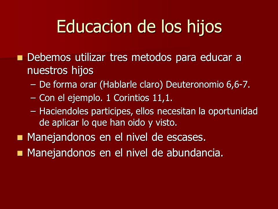Educacion de los hijos Debemos utilizar tres metodos para educar a nuestros hijos Debemos utilizar tres metodos para educar a nuestros hijos –De forma