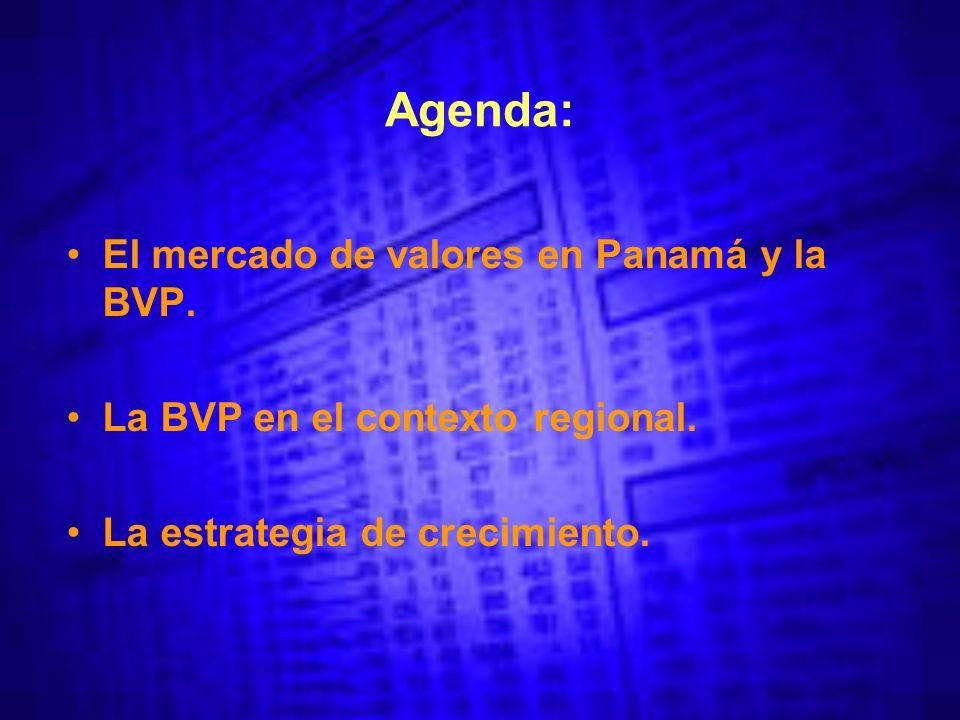 Agenda: El mercado de valores en Panamá y la BVP. La BVP en el contexto regional.