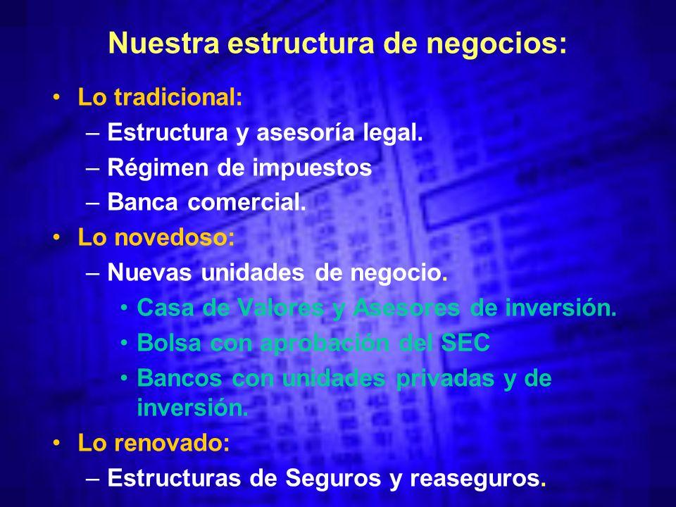Nuestra estructura de negocios: Lo tradicional: –Estructura y asesoría legal.