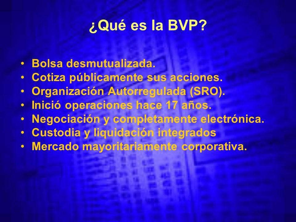 ¿Qué es la BVP. Bolsa desmutualizada. Cotiza públicamente sus acciones.