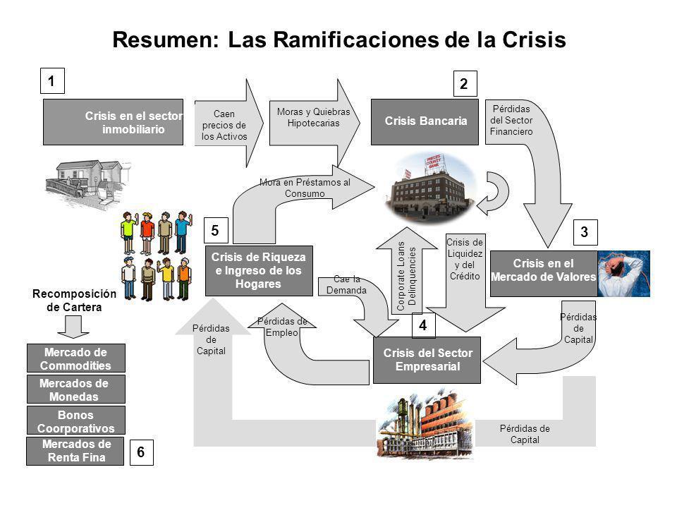 Resumen: Las Ramificaciones de la Crisis Crisis en el sector inmobiliario Caen precios de los Activos Moras y Quiebras Hipotecarias Crisis Bancaria Cr