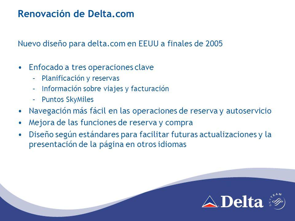 Distribución de ventas por canales Las ventas de billetes en Delta.com en 2006 casi triplican a las de 2005