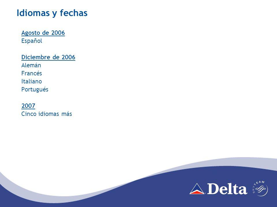 Idiomas y fechas Agosto de 2006 Español Diciembre de 2006 Alemán Francés Italiano Portugués 2007 Cinco idiomas más