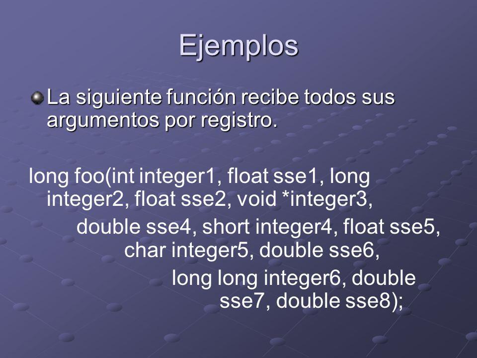 Ejemplos La siguiente función recibe todos sus argumentos por registro. long foo(int integer1, float sse1, long integer2, float sse2, void *integer3,