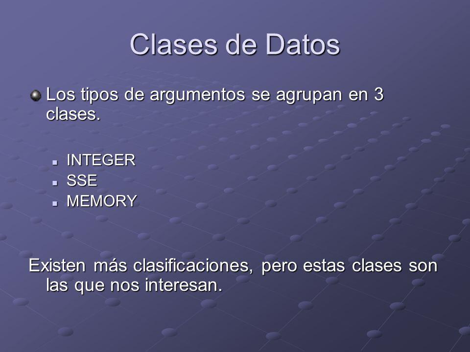 Clases de Datos Los tipos de argumentos se agrupan en 3 clases. INTEGER INTEGER SSE SSE MEMORY MEMORY Existen más clasificaciones, pero estas clases s