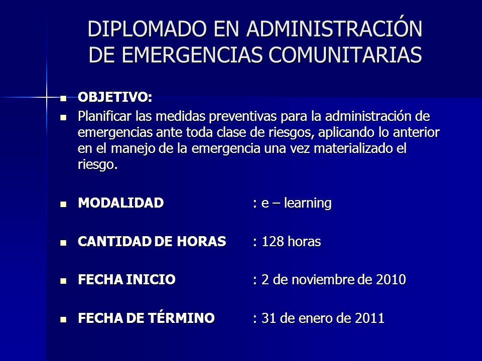 DIPLOMADO EN ADMINISTRACIÓN DE EMERGENCIAS COMUNITARIAS CONTENIDOS: CONTENIDOS: Módulo I: Gestión de Riesgos Módulo I: Gestión de Riesgos Módulo II: Planificación del Sistema de Emergencias Módulo II: Planificación del Sistema de Emergencias Módulo III: Aspectos Organizacionales Módulo III: Aspectos Organizacionales Módulo IV: Factores Administrativos Módulo IV: Factores Administrativos Módulo V: Consideraciones Operacionales Módulo V: Consideraciones Operacionales Módulo VI: Instalaciones de Respuesta a la Emergencia Módulo VI: Instalaciones de Respuesta a la Emergencia Módulo VII: Información al Público Módulo VII: Información al Público Módulo VIII: Taller de Planificación Módulo VIII: Taller de Planificación Cada módulo es de 16 horas, de las cuales 12 son lectivas y 4 consisten en un ejercicio de aplicación, todo on-line.