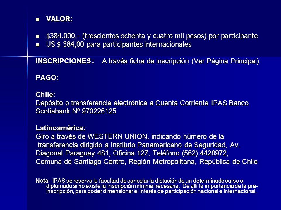 VALOR: VALOR: $384.000.- (trescientos ochenta y cuatro mil pesos) por participante $384.000.- (trescientos ochenta y cuatro mil pesos) por participante US $ 384,00 para participantes internacionales US $ 384,00 para participantes internacionales INSCRIPCIONES: A través ficha de inscripción (Ver Página Principal) PAGO: Chile: Depósito o transferencia electrónica a Cuenta Corriente IPAS Banco Scotiabank Nº 970226125 Latinoamérica: Giro a través de WESTERN UNION, indicando número de la transferencia dirigido a Instituto Panamericano de Seguridad, Av.