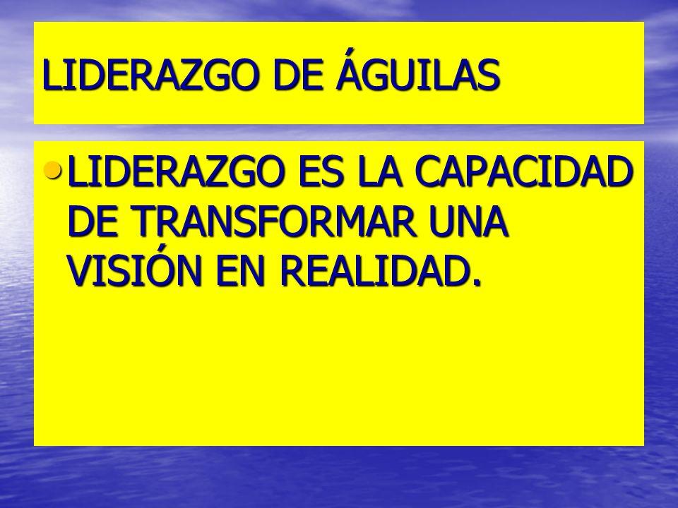 LIDERAZGO DE ÁGUILAS LIDERAZGO ES LA CAPACIDAD DE TRANSFORMAR UNA VISIÓN EN REALIDAD. LIDERAZGO ES LA CAPACIDAD DE TRANSFORMAR UNA VISIÓN EN REALIDAD.