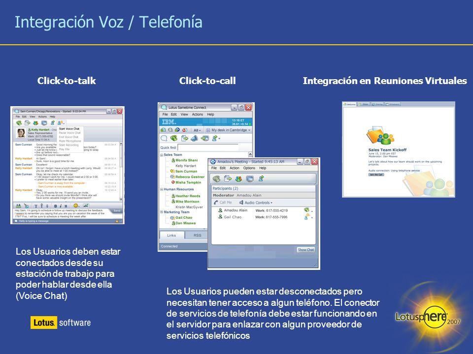 11 Integración Voz / Telefonía Click-to-talk Click-to-call Integración en Reuniones Virtuales Los Usuarios pueden estar desconectados pero necesitan t