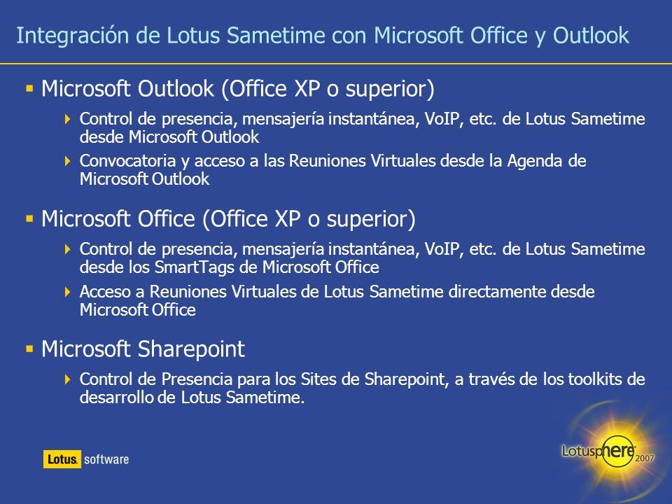 16 Integración de Lotus Sametime con Microsoft Office y Outlook Microsoft Outlook (Office XP o superior) Control de presencia, mensajería instantánea,