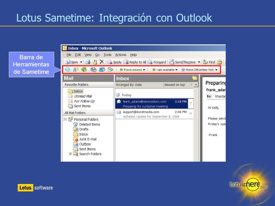 17 Lotus Sametime: Integración con Outlook Barra de Herramientas de Sametime