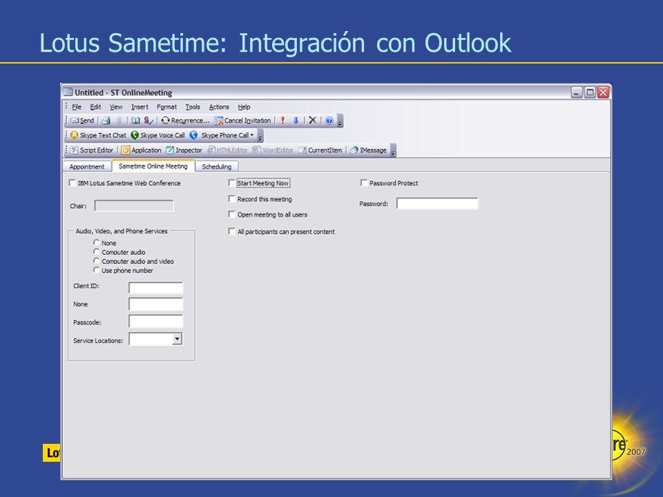 18 Lotus Sametime: Integración con Outlook
